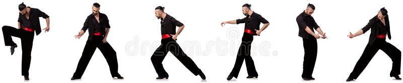 O dançarino espanhol em várias poses no branco fotografia de stock royalty free