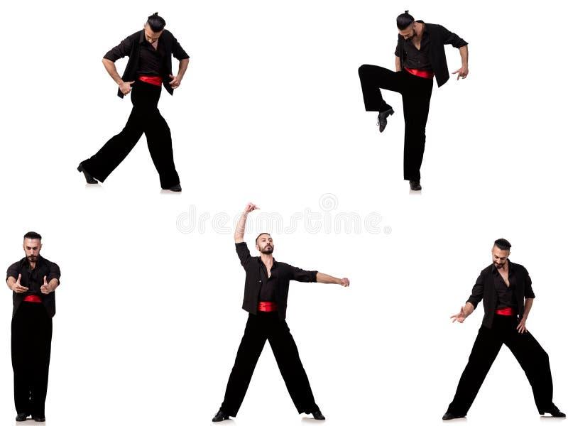 O dançarino espanhol em várias poses no branco fotos de stock