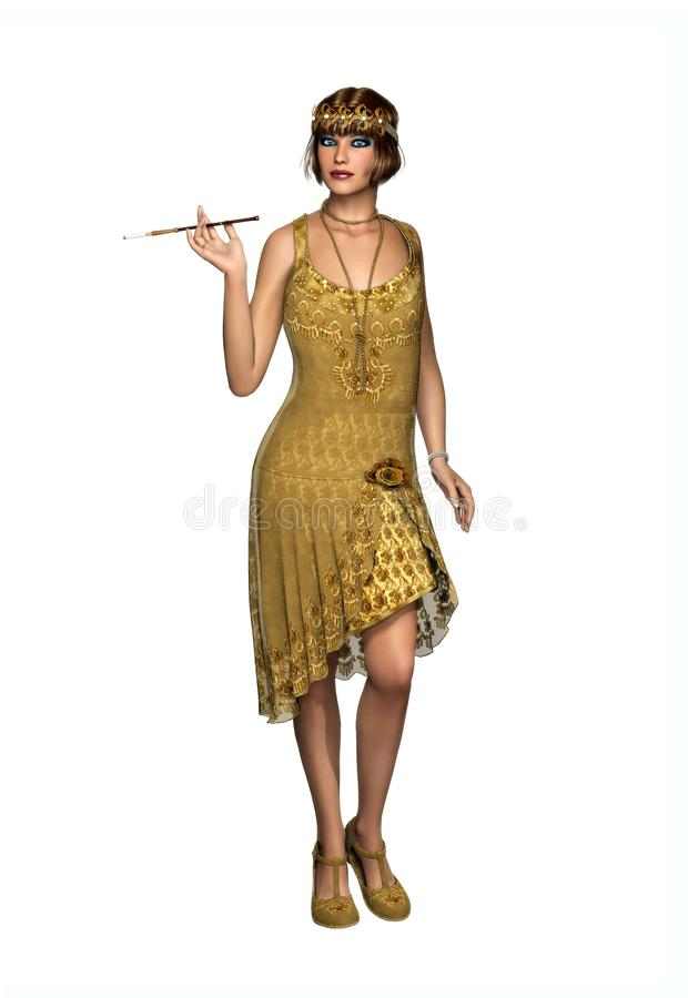 O dançarino rujindo Dress do Flapper da mulher 20s ilustração stock