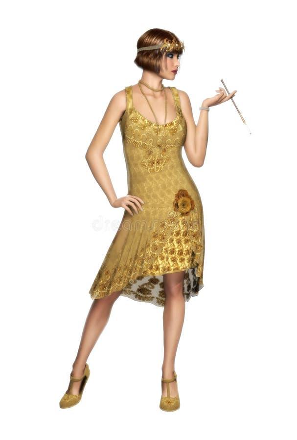 O dançarino rujindo Dress do Flapper da mulher 20s ilustração royalty free