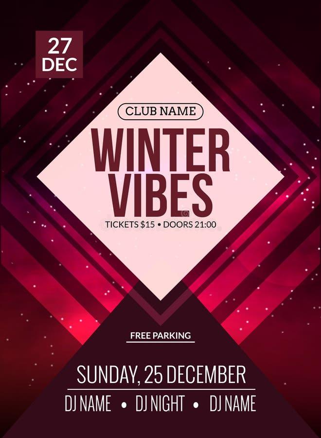 O dance party, DJ luta o projeto do cartaz Partido de disco do inverno Inseto do evento da música ilustração royalty free