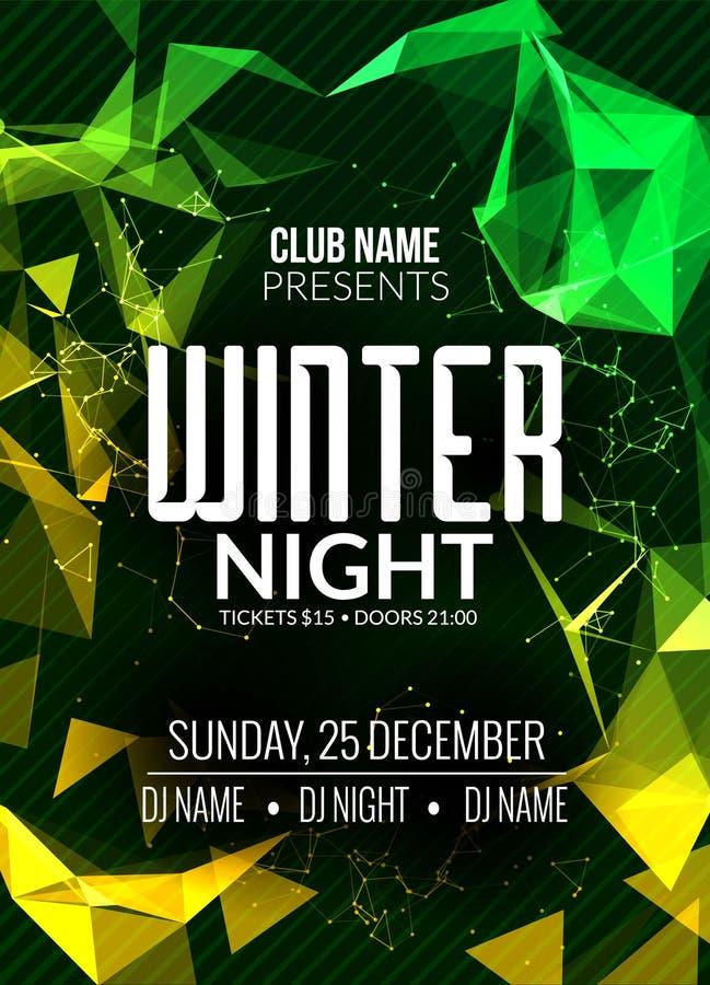 O dance party, DJ luta o projeto do cartaz Partido de disco do inverno Inseto do evento da música ou molde da ilustração da bande ilustração do vetor