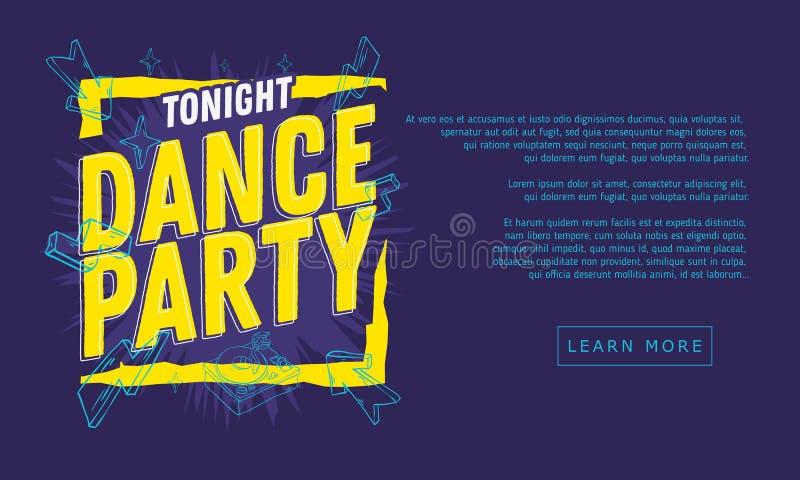 O dance party 90s influenciou o projeto tipográfico da bandeira da Web com linha tirada mão Art Cartoon Style Elements And vívido ilustração do vetor