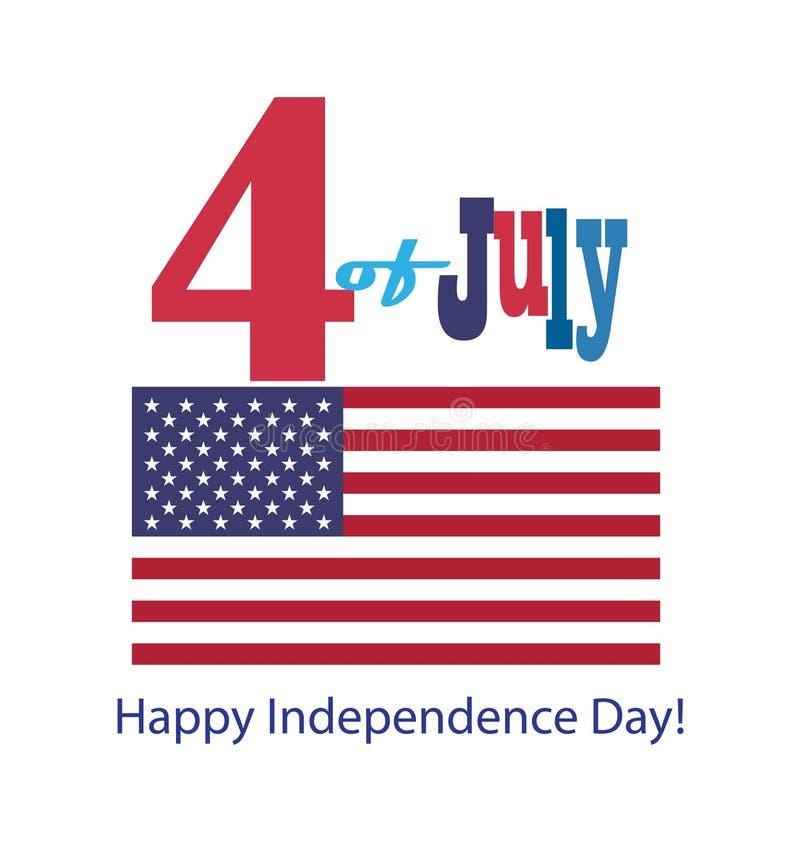 o 4o de ícones felizes dos símbolos do Dia da Independência de julho ajustou a bandeira americana patriótica, bandeira da fita do ilustração stock
