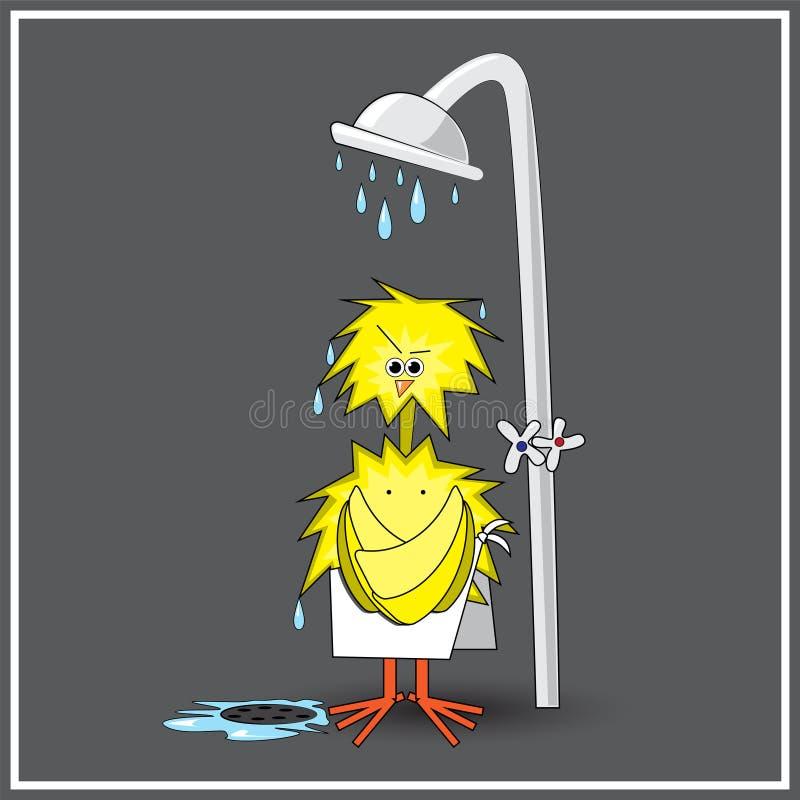 O ¡ de Ð hicken no chuveiro ilustração do vetor