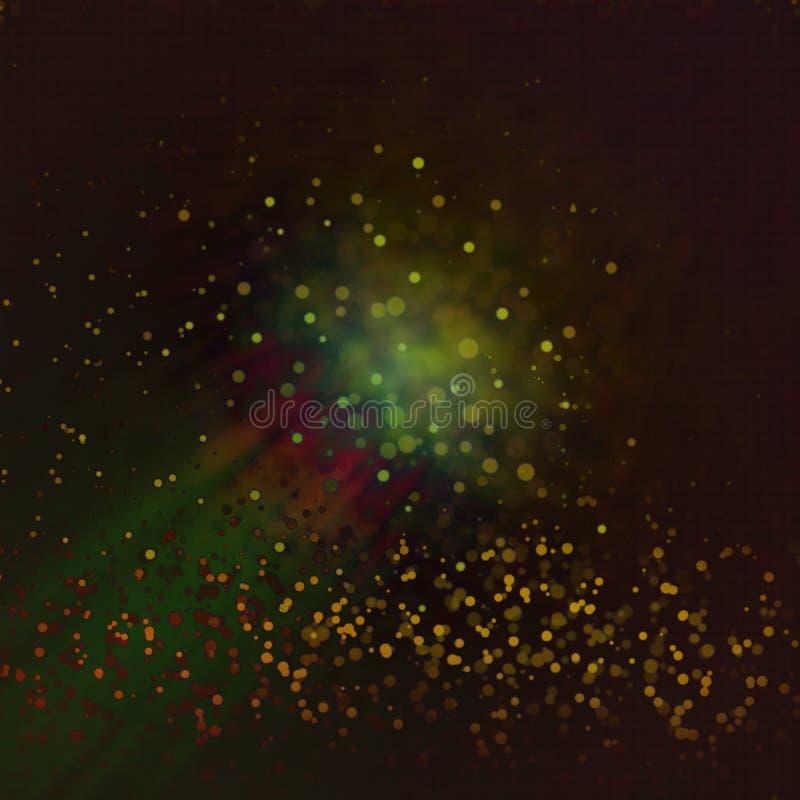 O De focalizou o fundo das luzes do vintage do brilho no amarelo vermelho marrom ilustração stock