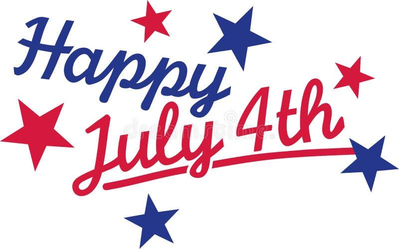 O 4 de julho feliz com protagoniza no azul e o vermelho ilustração do vetor