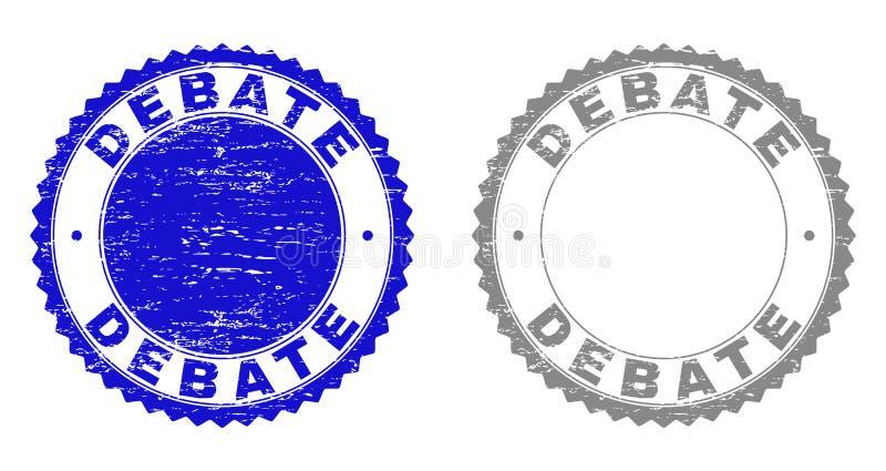 O DEBATE do Grunge Textured selos ilustração do vetor