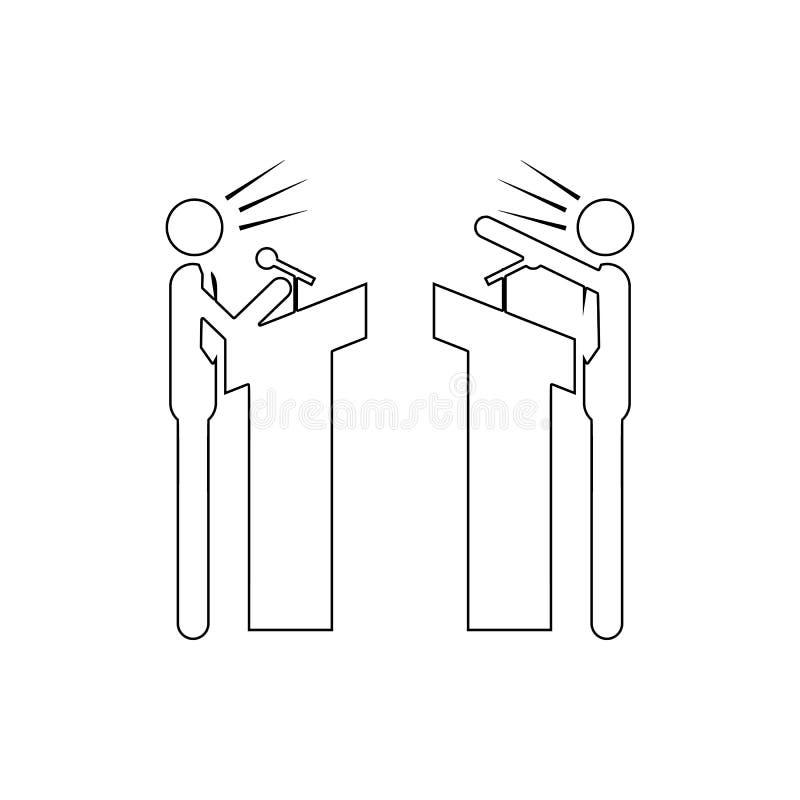 o debate entre o ícone de dois partidos Elemento do conflito para o conceito e o ícone móveis dos apps da Web Linha fina ícone pa ilustração stock
