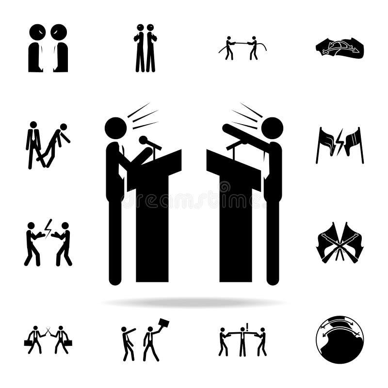 o debate entre o ícone de dois partidos grupo universal dos ícones do conflito para a Web e o móbil ilustração stock