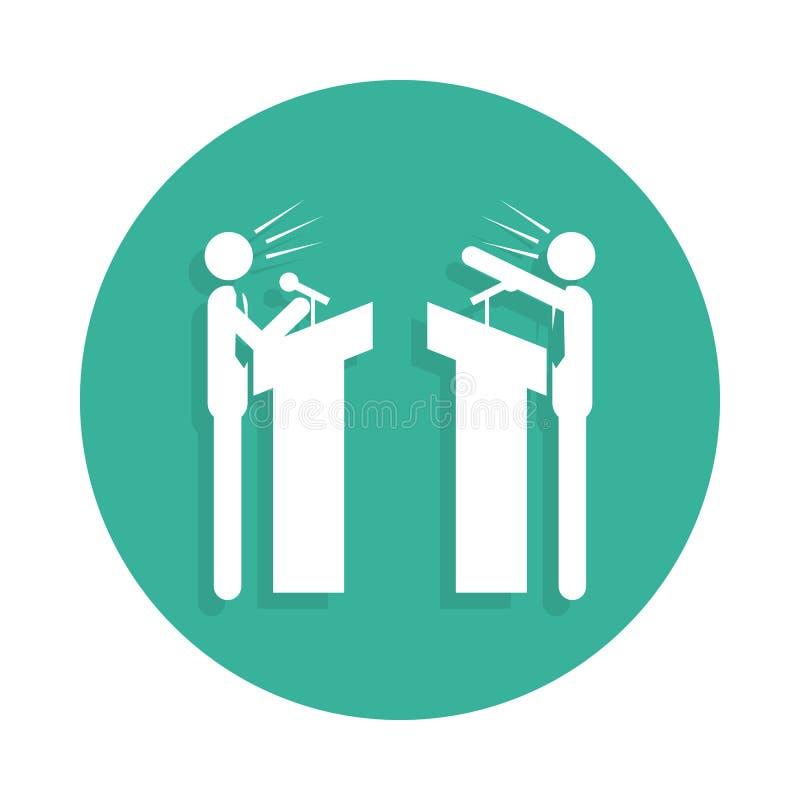 o debate entre o ícone de dois partidos no estilo do crachá ilustração do vetor