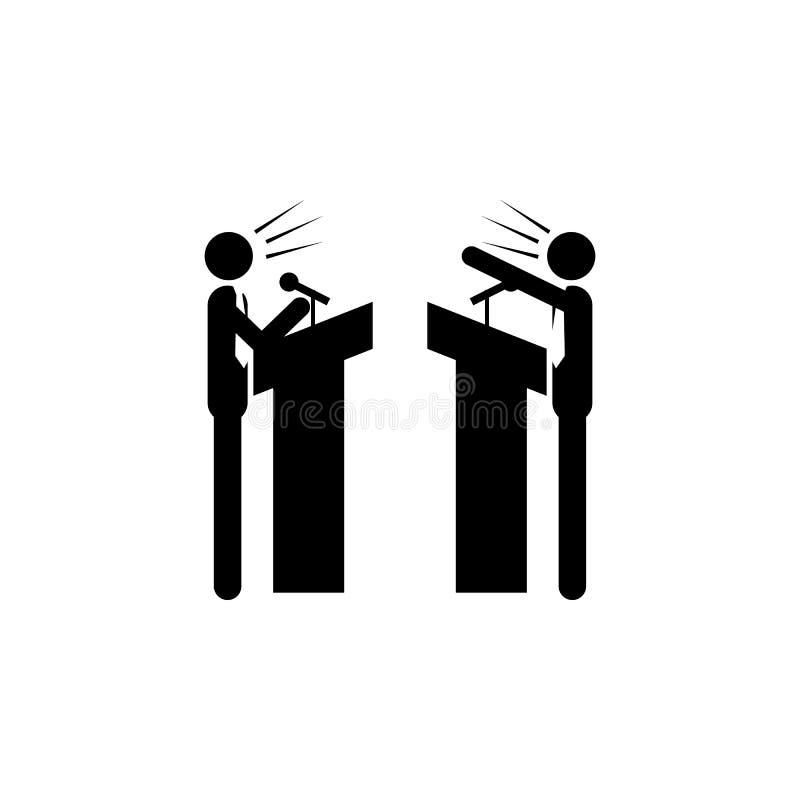 o debate entre a ilustração de dois partidos Elemento do ícone do conflito Ícone superior do projeto gráfico da qualidade Sinais  ilustração stock