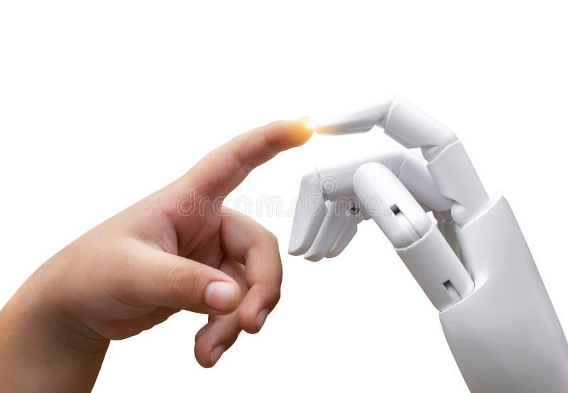 O dedo humano da mão da criança futura robótico da transição da inteligência artificial bateu a imprensa da mão do robô foto de stock
