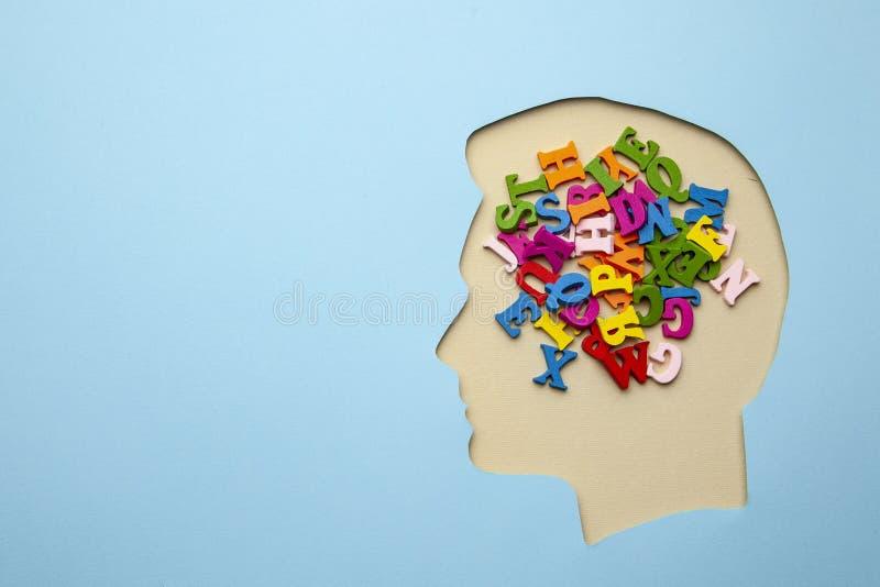 O defeito de discurso na cabeça é lote das letras e das palavras Incapacidade expressar seus pensamentos ilustração do vetor
