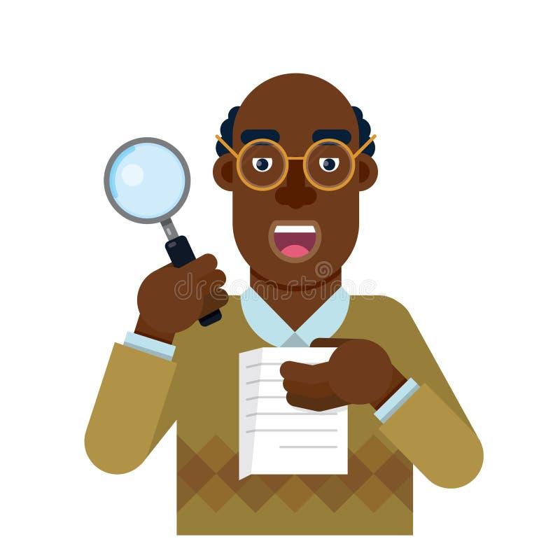 O delegado da pessoa à auditoria que analisa e pesquisa a exatidão do trabalho ilustração stock