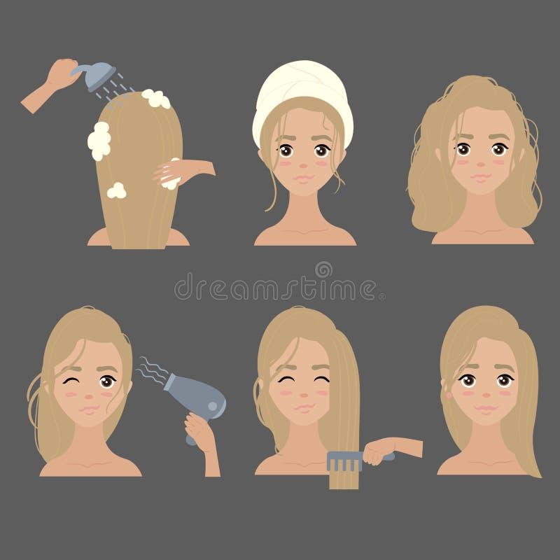 O deleite da moça, lavagem e denomina seu cabelo em casa ilustração do vetor