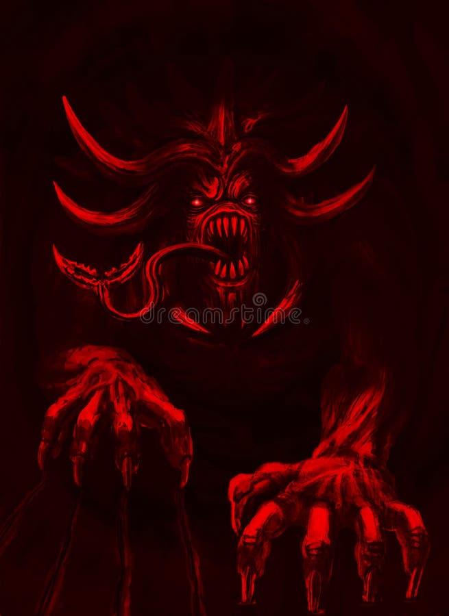 O demônio terrível com chifres rasteja para fora do inferno ilustração royalty free