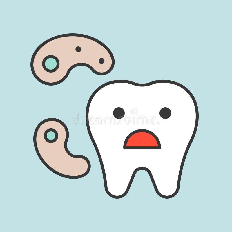 O dente bonito dos desenhos animados e as bactérias, ícone relacionado dental, encheram a OU ilustração do vetor