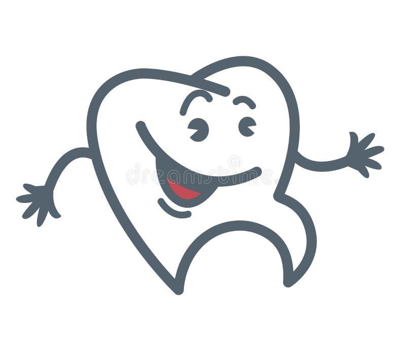 O dente com cara alegre e as mãos esboçam a ilustração ilustração stock