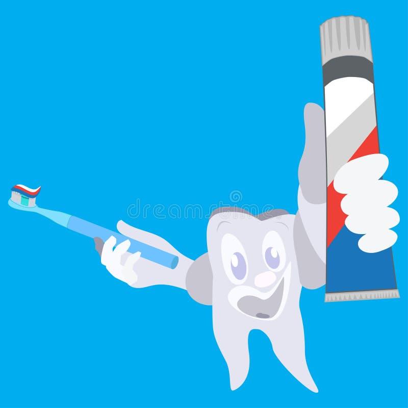 O dente de sorriso feliz com escova de dentes e o dentífrico vector a ilustração lisa ilustração do vetor