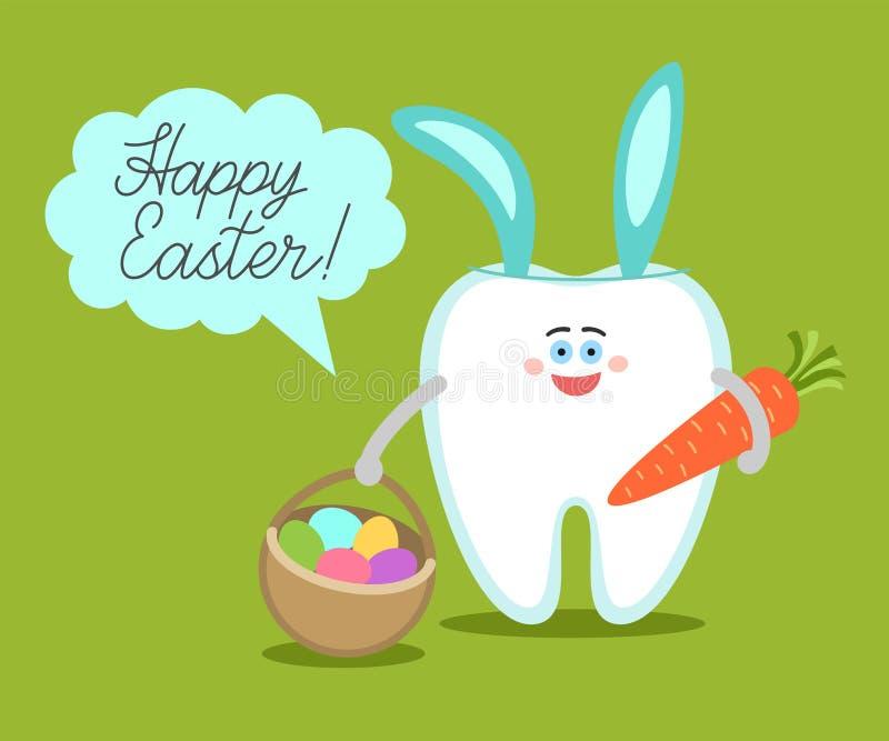 O dente dos desenhos animados com orelhas do coelho guarda uma cenoura e uma cesta com ovos imagens de stock royalty free