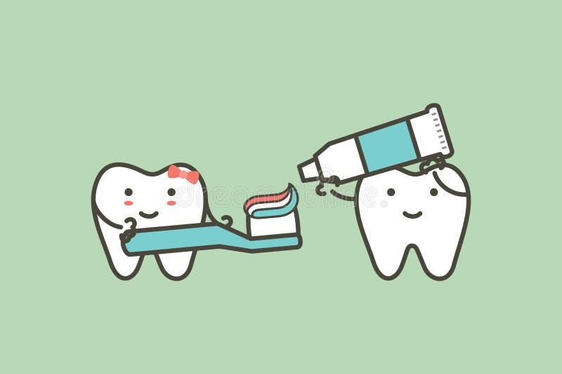 O dente saudável dos pares está escovando os dentes, a menina está mantendo a escova de dentes e o menino que espremem o dentífri ilustração do vetor