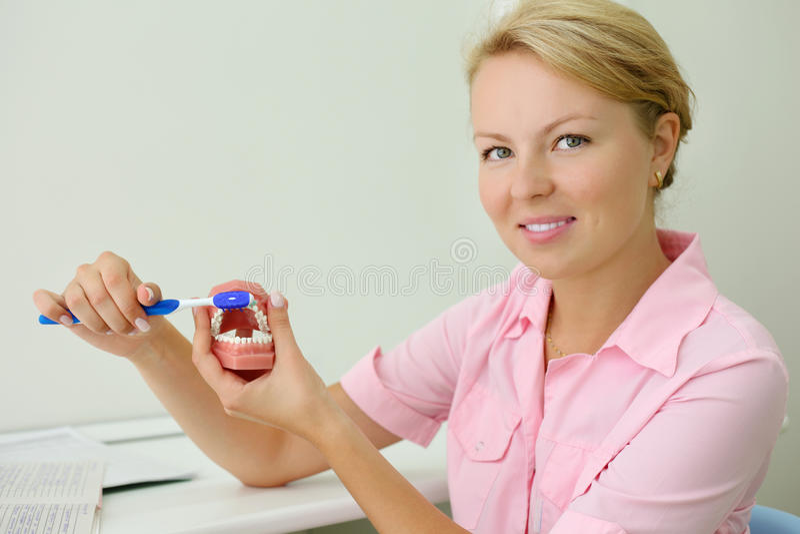 O dentista de sorriso mostra como escovar corretamente os dentes imagem de stock royalty free