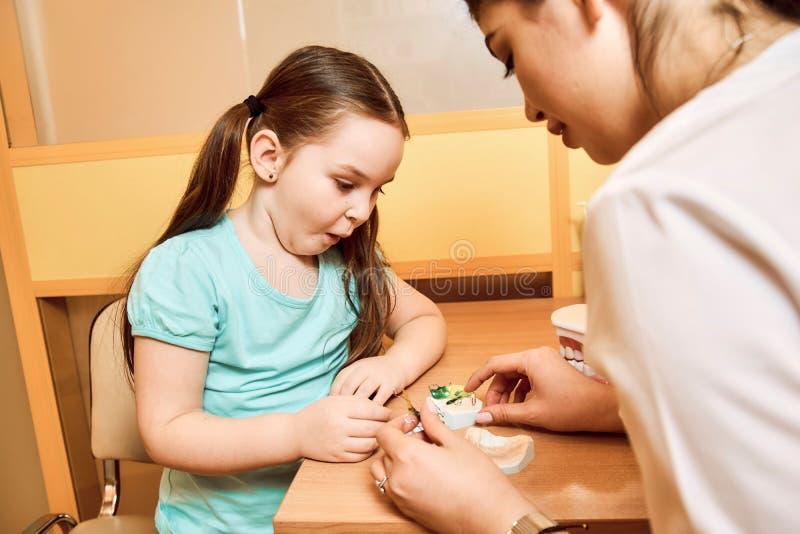 O dentista mostra a uma menina como limpar a dentadura fotos de stock