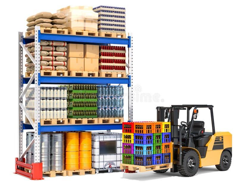 O depósito com caminhão e pálete de empilhadeira submete, a rendição 3D ilustração do vetor