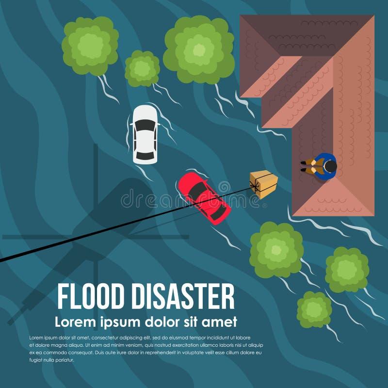 O desastre de inundação com o helicóptero da vista superior entrega a caixa da ajuda às vítimas de inundação no telhado do projet ilustração royalty free