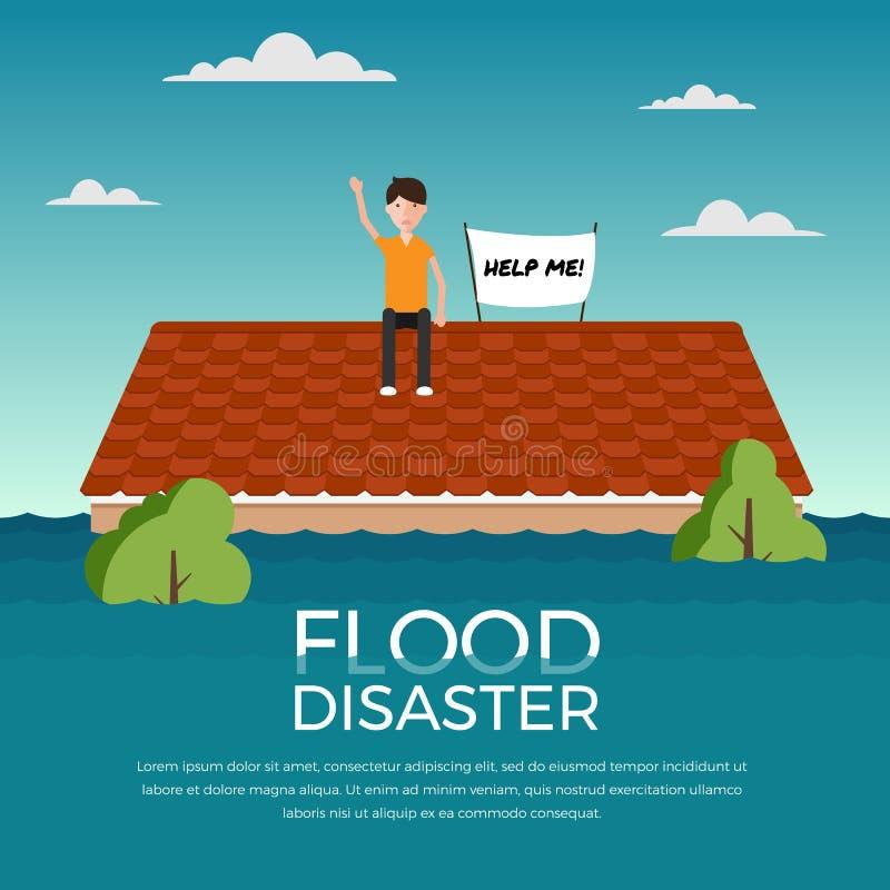 O desastre de inundação com ser humano e ajuda-me bandeira no telhado do projeto do vetor da casa ilustração do vetor