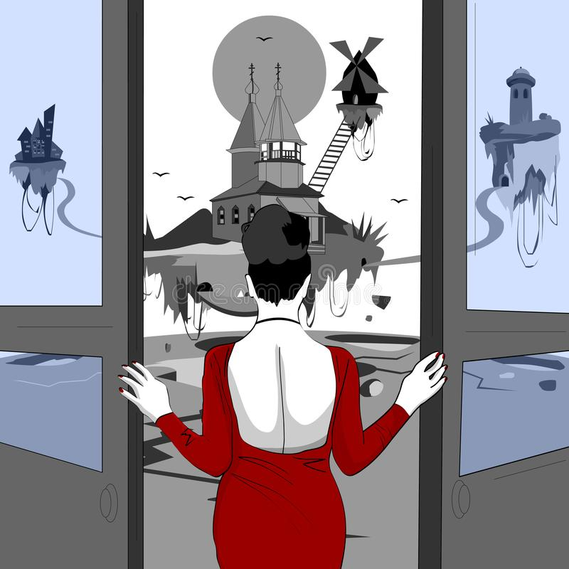 O desastre, a terra est? desintegrando-se ilustração royalty free