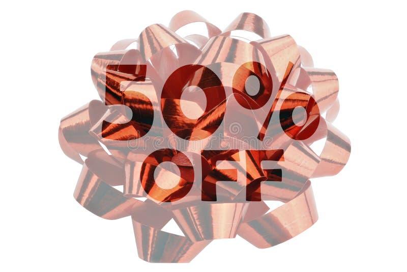 o desconto de 50% simbolizou por um laço do presente com o texto 50% fora imagem de stock