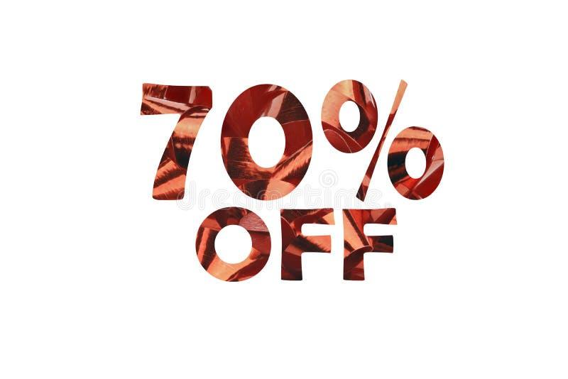 O desconto 70% simbolizou por um texto cortado de um laço 70% do presente fora fotos de stock