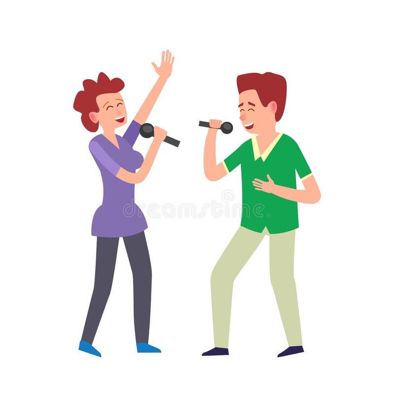O desempenho da música pelo duo, acopla o homem e a mulher ilustração stock