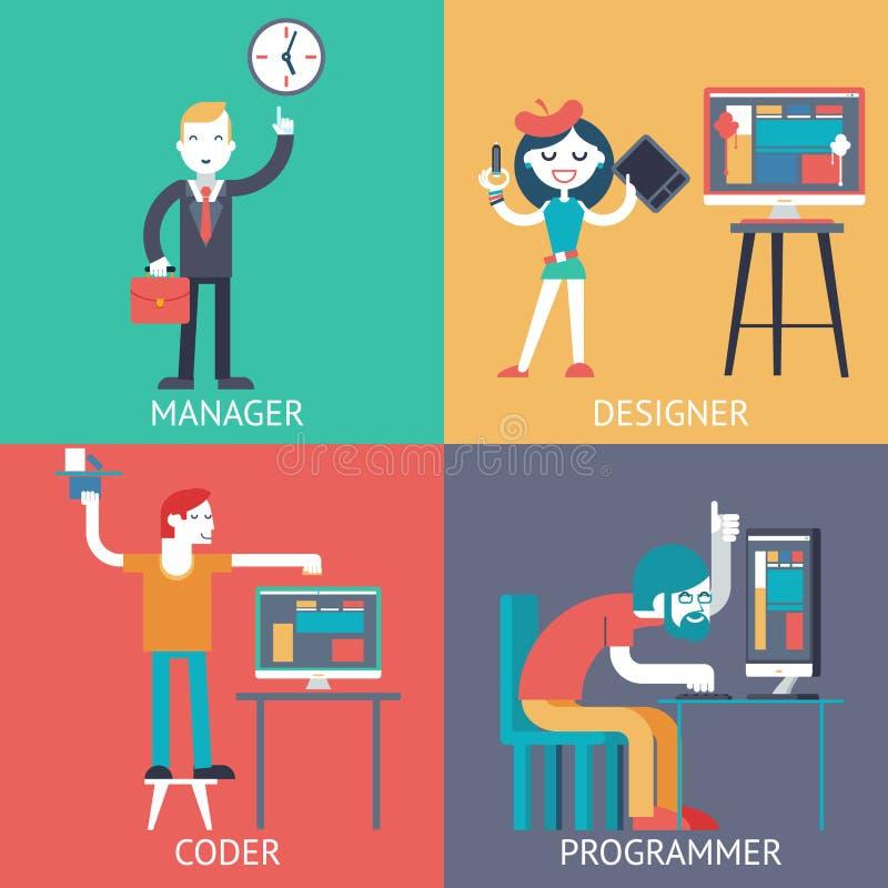 O desenhista de programação do codificador do managerprogrammer do homem de negócios da equipe de desenvolvimento da Web que plan ilustração stock