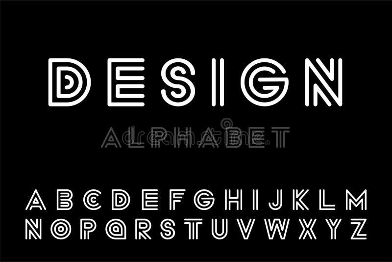 O desenhista moderno listrou a fonte - vector o projeto minimalistic Alfabeto inglês na moda - letras latin brancas ilustração stock