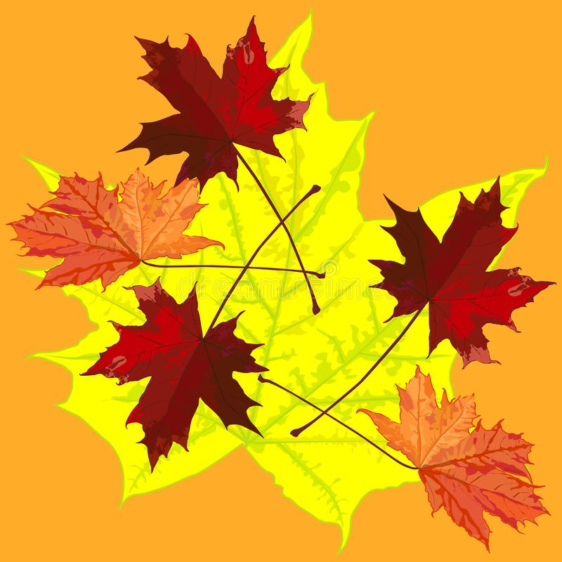 O desenho com as folhas de bordo na queda, teste padrão foto de stock royalty free