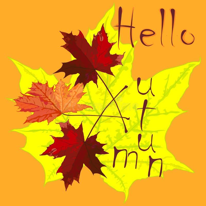 O desenho com folhas de bordo e uma inscrição, outono, teste padrão imagens de stock