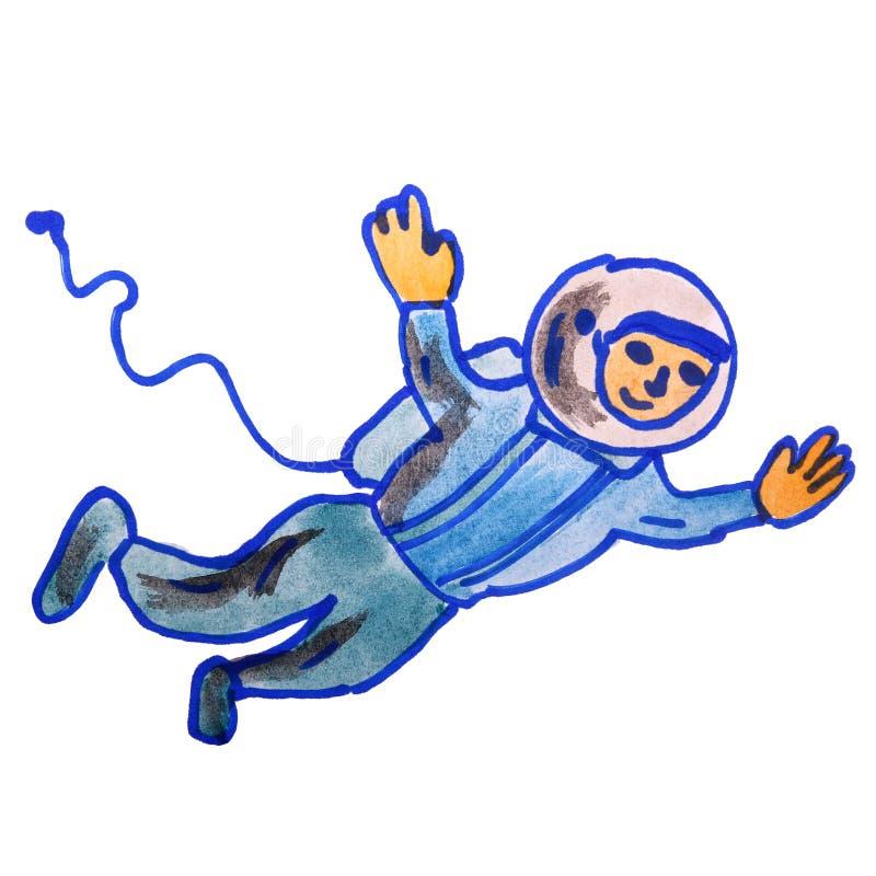 O desenho da aquarela caçoa o astronauta dos desenhos animados no branco ilustração do vetor