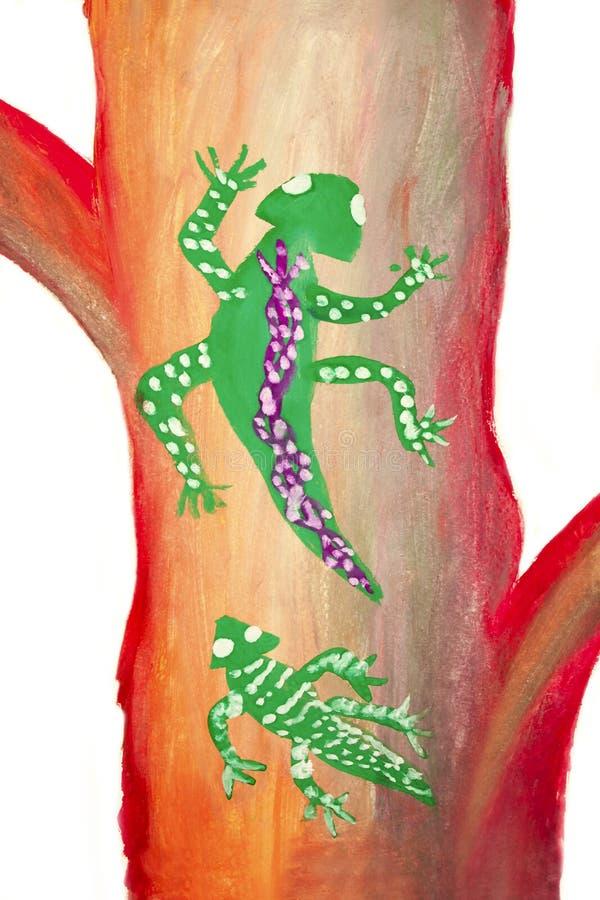 O desenho da criança com salamandra ilustração stock