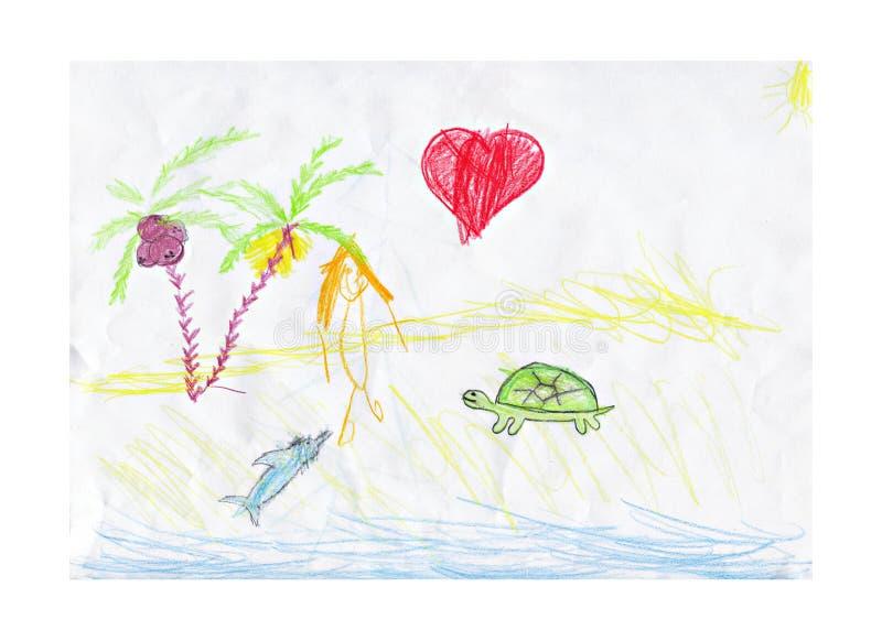O desenho da criança, praia ensolarada e o coração ilustração stock