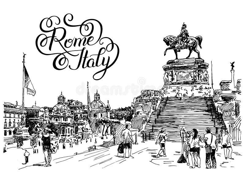 O desenho da mão do esboço da arquitetura da cidade famosa de Roma Itália com mão deixou ilustração do vetor