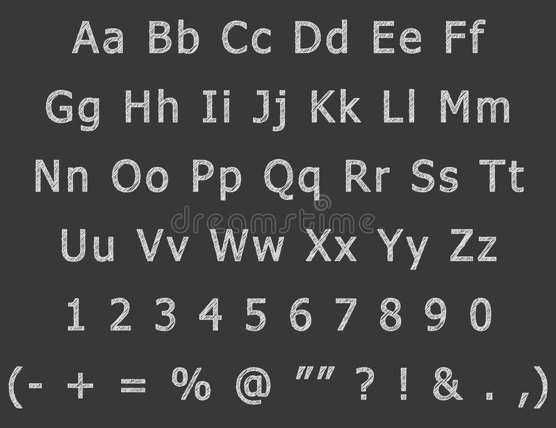 O desenho da mão do giz rotula o alfabeto inglês ilustração stock