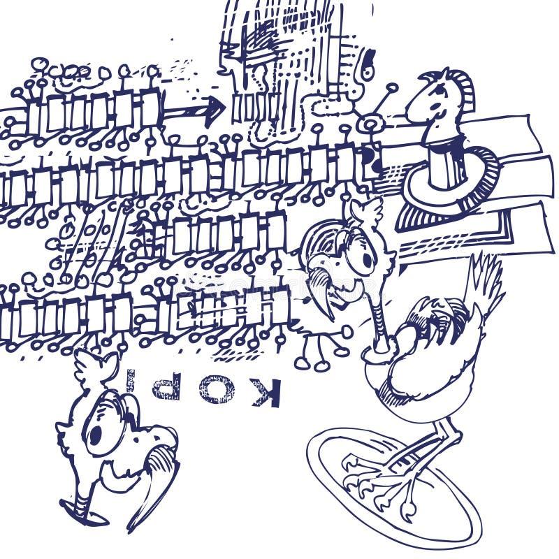 O desenho da pena de esferográfica com ratite e o clone carimbam ilustração do vetor