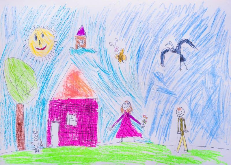 O desenho das crianças ilustração royalty free