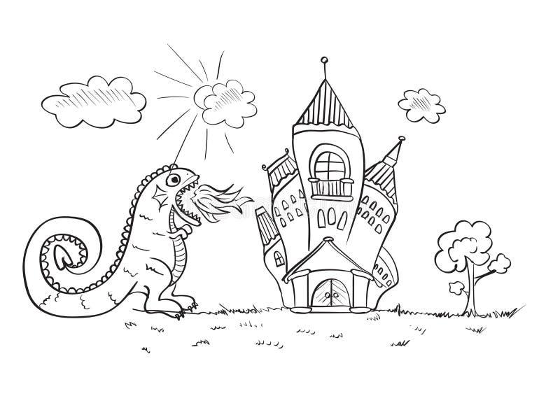 O desenho das crianças com um ataque derespiração do castelo do dragão ilustração do vetor
