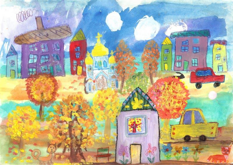 O desenho das crianças das construções, carros, templo Pintura da aguarela ilustração royalty free