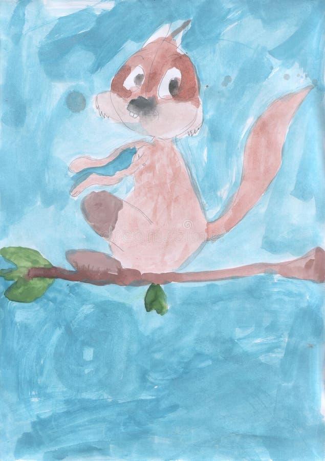 O desenho das crianças - o esquilo senta-se em um ramo fotos de stock