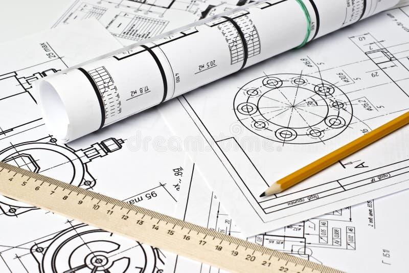 O desenho de engenharia foto de stock